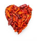 Cayenne chili i formen av en hjärta För de som älskar kryddigt Passion för det kryddigt Förälskelse för kajennpeppar arkivfoto