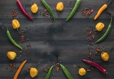 Cayenne chili pieprze, żółty habanero pieprzą, pepperoncini pieprze i koloru pieprz Zdjęcia Stock