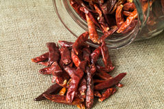 Cayenne chilli pepper. On textile material and jar in background royalty free stock image