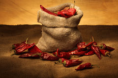 Cayenne pepper. Vintage view of bag and cayenne pepper Royalty Free Stock Photo