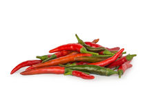 Cayenne pepper chili. (  long fed pepper, spur pepper ) on white background Royalty Free Stock Photo