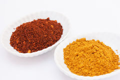 Cayenne pepper and curry powder on white background. Royalty Free Stock Photo