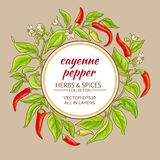Cayenne pepper frame. Cayenne pepper vector frame on color background Royalty Free Stock Photography