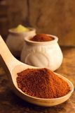 Cayenne Pepper In A Big Wooden Spoon Stock Photos