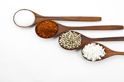 Cayenne pepper, salt and sugar Stock Photos