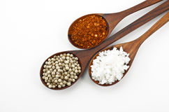 Cayenne pepper, salt and sugar Royalty Free Stock Images