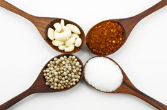 Cayenne pepper, sugar, garlic and pepper. Royalty Free Stock Image
