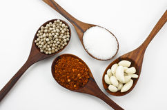 Cayenne pepper, sugar, garlic and pepper. Stock Photos