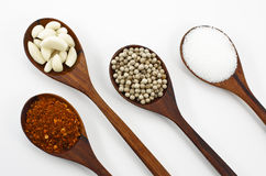 Cayenne pepper, sugar, garlic and pepper. Stock Image