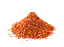 Cayenne pepper on white stock images