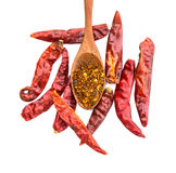 Cayenne pepper on wood spoon and dry pepper Stock Photo