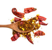 Cayenne pepper on wood spoon and dry pepper Royalty Free Stock Photo