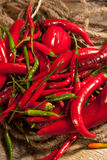 Cayenne peppers. Several of red and green cayenne peppers Royalty Free Stock Image