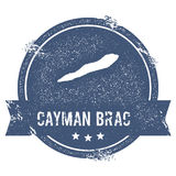 Cayman Brac logo sign. Travel rubber stamp with the name and map of island, vector illustration. Can be used as insignia, logotype, label, sticker or badge Stock Images