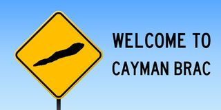 Cayman Brac map on road sign. Wide poster with Cayman Brac island map on yellow rhomb road sign. Vector illustration Stock Photography