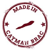 Cayman Brac seal. Vintage island map sticker. Grunge rubber stamp with Made in text and map outline, vector illustration Stock Photo
