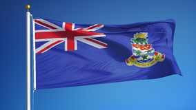 Cayman Islands flag in slow motion seamlessly looped with alpha. Cayman Islands flag waving in slow motion against blue sky, seamlessly looped, close up stock video footage