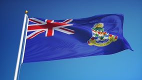 Cayman Islands flag in slow motion seamlessly looped with alpha. Cayman Islands flag waving in slow motion against blue sky, seamlessly looped, close up stock video