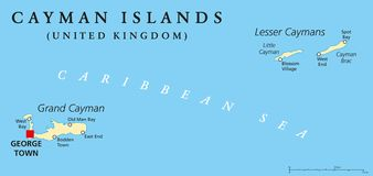 Cayman Islands Political Map. With capital George Town and important places. A British Overseas Territory in the western Caribbean Sea. English labeling and Royalty Free Stock Image