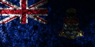 Cayman Islands grunge flag on old dirty wall, British Overseas Territories, Britain dependent territory flag. Cayman Islands smoke flag, British Overseas royalty free illustration