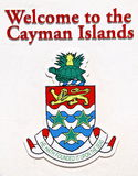 Cayman Islands welcome sign. Cayman Islands, Caribbean, white welcome sign with coat of arms stock photos
