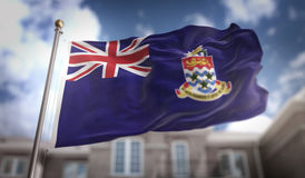 Caymaneilanden markeren het 3D Teruggeven op Blauwe Hemel de Bouwachtergrond Stock Afbeelding