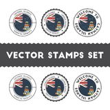 Caymanian flag rubber stamps set. Stock Image