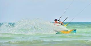 Cayo Guillermo, Cuba - December 17 2017: Man riding his kiteboard on Cayo Guillermo in Atlantic Ocean, Enjoy kite surfing. Decembe. R 2017 in Cuba. Caya Stock Photos
