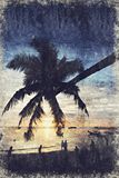 Cayo Guillermo Koh Tao Sunset Digitaal Art Impasto Oil Painting B royalty-vrije stock fotografie