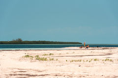 CAYO LARGO, CUBA - 10 MAI 2017 : Paradis de Playa de plage sablonneuse Copiez l'espace pour le texte Photo stock