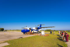 CAYO LARGO, CUBA - MAY 10, 2017: Plane at the airport. Copy space for text. Royalty Free Stock Photo