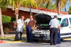 CAYO LARGO, CUBA - MAY 10, 2017: Taxi drivers at the airport. Close-up.  Royalty Free Stock Photos