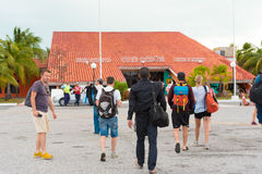 CAYO LARGO, CUBA - MAY 10, 2017: Tourists at the airport. Copy space for text. CAYO LARGO, CUBA - MAY 10, 2017: Tourists at the airport. Copy space for text Royalty Free Stock Photography