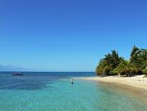 Cayo Menor, Cayos Cochinos. The transparent Caribbean sea of the marine reserve Cayo Menor, archipelago of Cayos Cochinos, region of Atlantida, Honduras Stock Photography