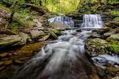 Cayuga Falls, Ricketts Glen State Park, PA. Cayuga waterfall in Ricketts Glen State Park, Northeastern Pennsylvania Royalty Free Stock Photos