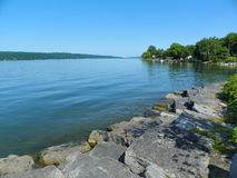 Cayuga Lake Rock Wall Shoreline In Ithaca Royalty Free Stock Image