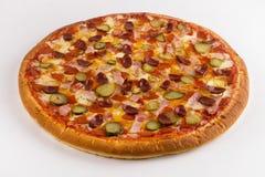 Caza de la pizza, país en un fondo blanco fotografía de archivo libre de regalías
