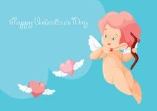 Caza del cupido con los corazones del vuelo del arco del archey Cupido que juega música Imagen de archivo