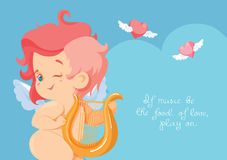 Caza del cupido con los corazones del vuelo del arco del archey Cupido que juega música Imagenes de archivo