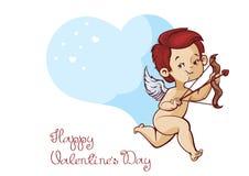 Caza del cupido con los corazones del vuelo del arco del archey Mensaje manuscrito del día de tarjetas del día de San Valentín de Imagen de archivo
