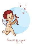 Caza del cupido con los corazones del vuelo del arco del archey Mensaje manuscrito del día de tarjetas del día de San Valentín de Fotografía de archivo