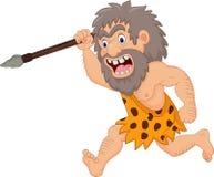 Caza del hombre de las cavernas de la historieta con la lanza stock de ilustración