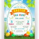 Caza del huevo de Pascua que anuncia la plantilla del cartel con los huevos coloridos en el césped verde y