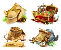Caza del tesoro y aventura sistema del icono del vector 3d libre illustration