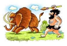 Caza gigantesca de la lanza de la persona primitiva del hombre del Neanderthal imágenes de archivo libres de regalías