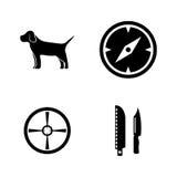 caza Iconos relacionados simples del vector Foto de archivo libre de regalías