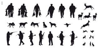Caza motiva de animales y de landscapes1 ilustración del vector