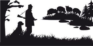 Caza motiva de animales y de landscapes27 ilustración del vector