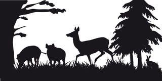 Caza motiva de animales y de landscapes30 libre illustration
