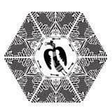 Caza salvaje Vector del color oscuro del estilo de Boho Vector Mandala With Mythical Animals tribal étnica Imagen de archivo